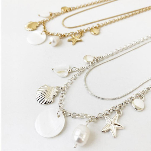 Collier Necklace Gold 2 Row Chain With Natural Shell And Assorted Charms by Caracol