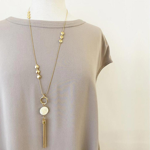 Collier Necklace Gold Adjustable Necklace With Metallic Discs, Natural Shells And Multi Chains Tassel by Caracol