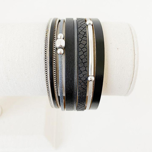 Bracelet Black & Silver Large Single Multistrand Bracelet With Metal Beads by Caracol