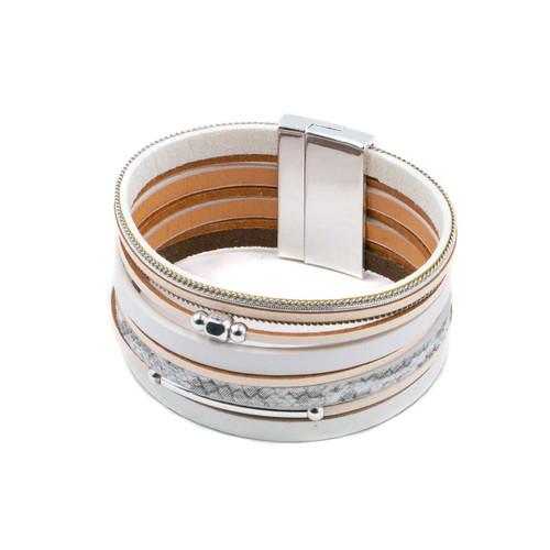 Bracelet Beige & Silver Large Single Multistrand Bracelet With Metal Beads by Caracol