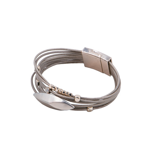 Bracelet Taupe & Bronze Multistrand Bracelet In Genuine Leather With Metal Beads by Caracol
