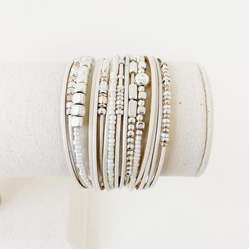 Bracelet Beige, Silver & Rose Gold Multistrand Bracelet Leather Metal & Glass Beads by Caracol