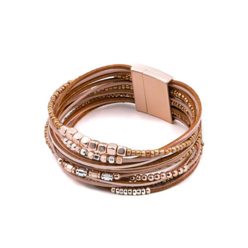 Bracelet Nude, Silver & Rose Gold Multistrand Bracelet Leather Metal & Glass Beads by Caracol