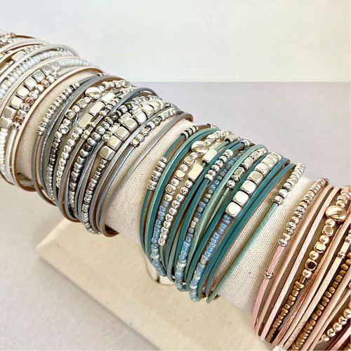 Bracelet Turquoise, Silver & Gold Multistrand Bracelet Leather Metal & Glass Beads by Caracol