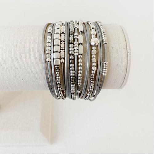 Bracelet Gray, Silver & Gold Multistrand Bracelet Leather Metal & Glass Beads by Caracol