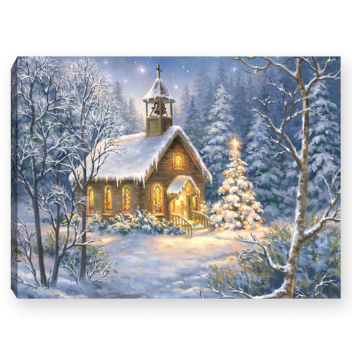 """The Chapel 8"""" x 6""""  Lighted Tabletop Canvas Illuminated Art by Glow Decor"""