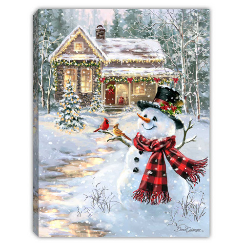 """Cottage in the Snow 8"""" x 6""""  Lighted Tabletop Canvas Illuminated Art by Glow Decor"""