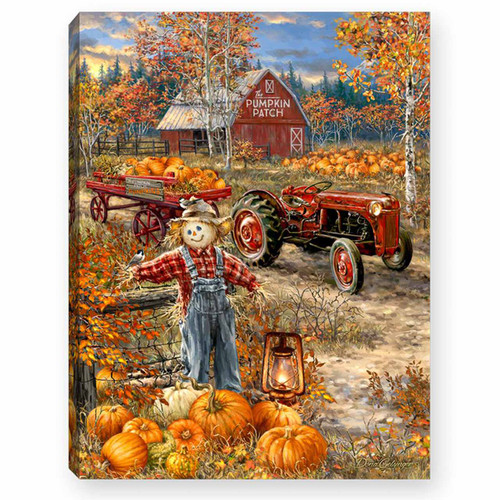 """Pumpkin Patch 8"""" x 6""""  Lighted Tabletop Canvas Illuminated Art by Glow Decor"""