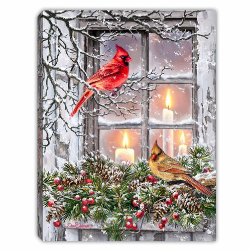 """Together for Christmas 8"""" x 6""""  Lighted Tabletop Canvas Illuminated Art by Glow Decor"""