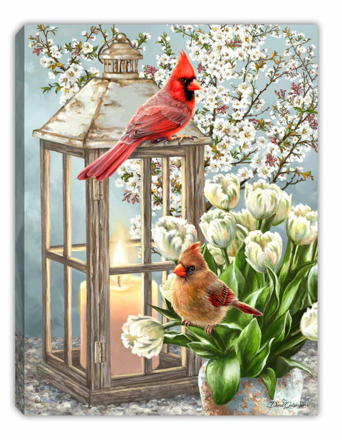 """Sweet Cardinals 8"""" x 6""""  Lighted Tabletop Canvas Illuminated Art by Glow Decor"""