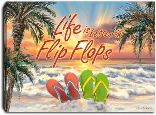 "Flip Flops 8"" x 6""  Lighted Tabletop Canvas Illuminated Art by Glow Decor"