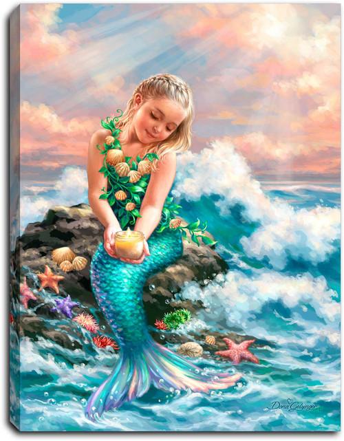 "Mermaid Princess 8"" x 6""  Lighted Tabletop Canvas Illuminated Art by Glow Decor"