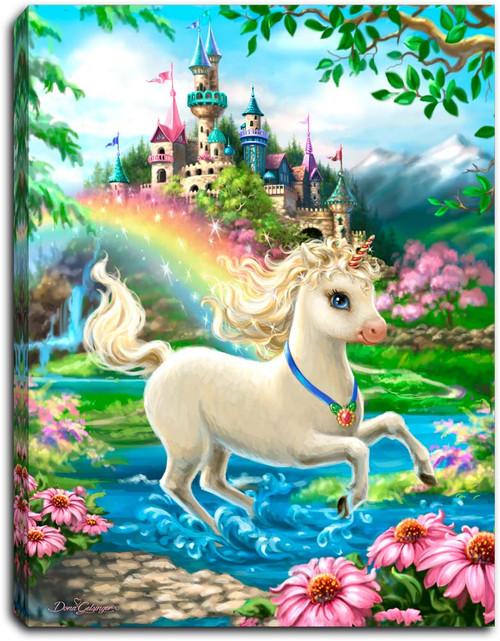 "Unicorn Princess 8"" x 6""  Lighted Tabletop Canvas Illuminated Art by Glow Decor"
