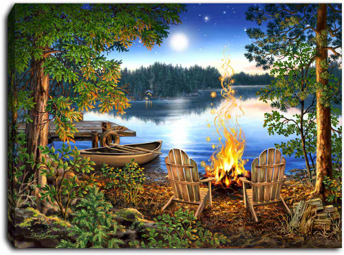 """Lakeside 8"""" x 6""""  Lighted Tabletop Canvas Illuminated Art by Glow Decor"""