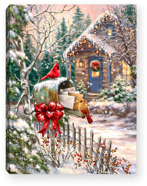 """Cardinal Cottage 8"""" x 6""""  Lighted Tabletop Canvas Illuminated Art by Glow Decor"""