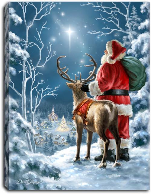 "Starry Night Santa 8"" x 6""  Lighted Tabletop Canvas Illuminated Art by Glow Decor"