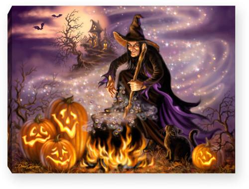 "All Hallows Eve 8"" x 6""  Lighted Tabletop Canvas Illuminated Art by Glow Decor"