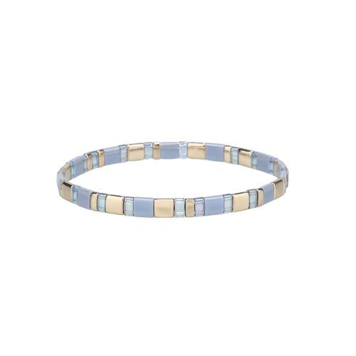 Miyuki Tila Heather Gold Premium Stretch Bracelet by Splendid Iris