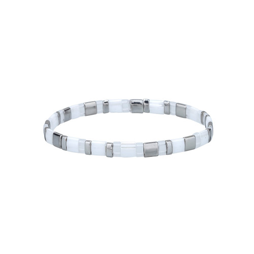 Miyuki Tila Hazel Silver Premium Stretch Bracelet by Splendid Iris