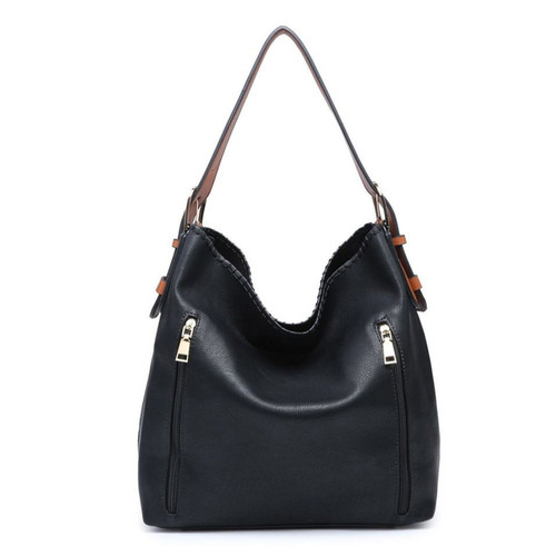 Alexa 2-In-1 Hobo Bag With Dual Zip Accessory Compartment In Black by Jen & Co.