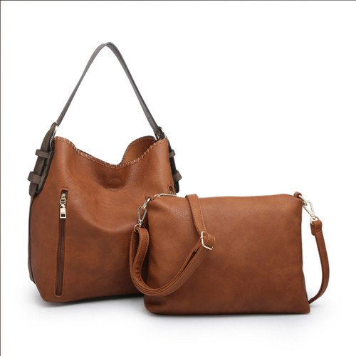 Alexa 2-In-1 Hobo Bag With Dual Zip Accessory Compartment In Distressed Brown by Jen & Co.