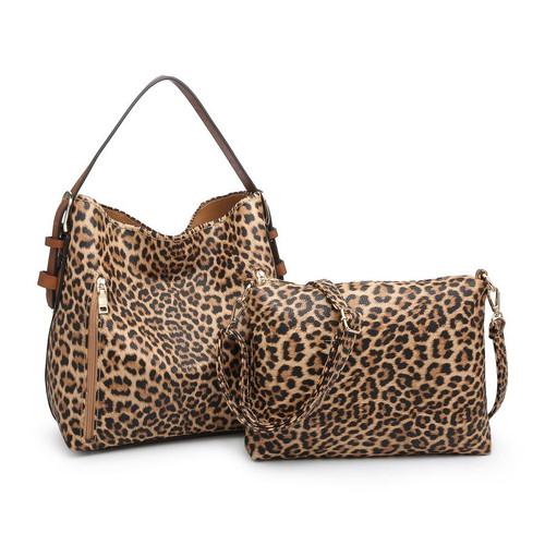 Alexa 2-In-1 Hobo Bag WithDual Zip Accessory Compartment In Leopard Mustard by Jen & Co.