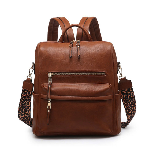Amelia Convertible Backpack With Guitar Strap In Brown by Jen & Co.