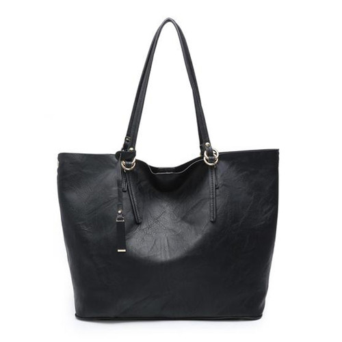 Iris Soft Vegan Leather Tote With Snap Closure And Inner Crossbody In Black by Jen & Co.