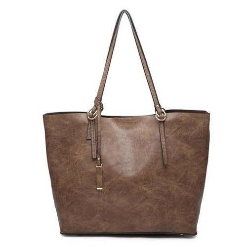 Iris Soft Vegan Leather Tote With Snap Closure And Inner Crossbody In Coffee by Jen & Co.
