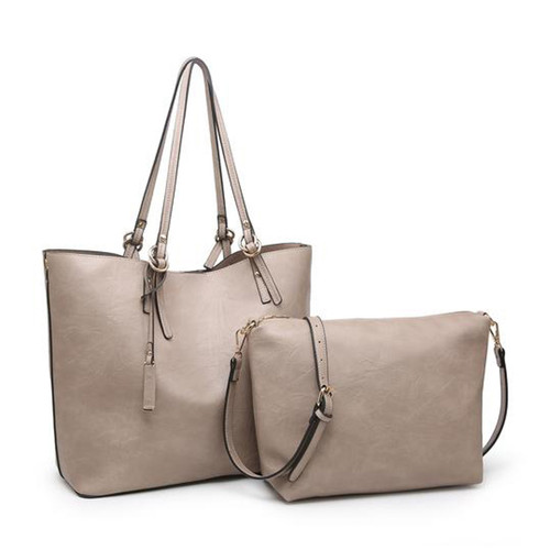 Iris Soft Vegan Leather Tote With Snap Closure And Inner Crossbody In Warm Grey by Jen & Co.