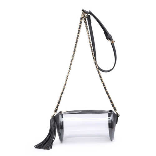 Ivy Game Day Clear Cylinder Crossbody In Black by Jen & Co.