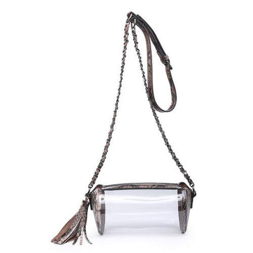 Ivy Game Day Clear Cylinder Crossbody In Python- Coffee/Brown by Jen & Co.