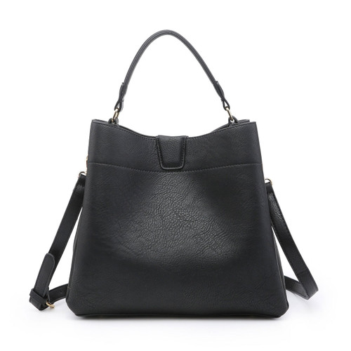 Tati Monogrammable Satchel With Zip And Inner Slip Pockets In Black by Jen & Co.