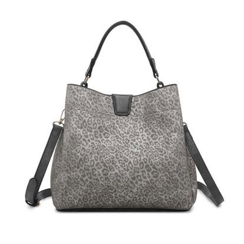 Tati Monogrammable Satchel With Zip And Inner Slip Pockets In Cheetah-D. Silver by Jen & Co.