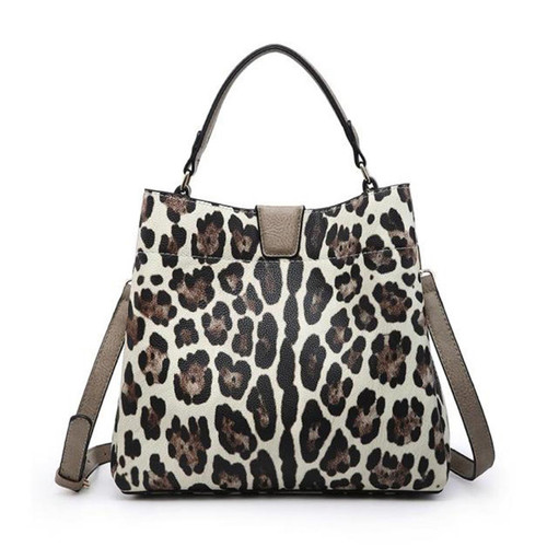 Tati Monogrammable Satchel With Zip And Inner Slip Pockets In Snow Leopard by Jen & Co.