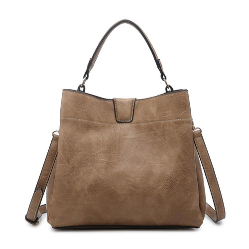 Tati Monogrammable Satchel With Zip And Inner Slip Pockets In Taupe by Jen & Co.