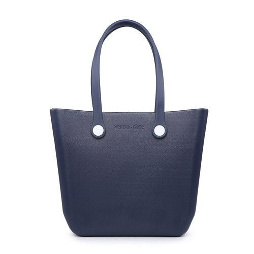 Vira Versa Tote With Interchangeable Straps In Navy by Jen & Co.
