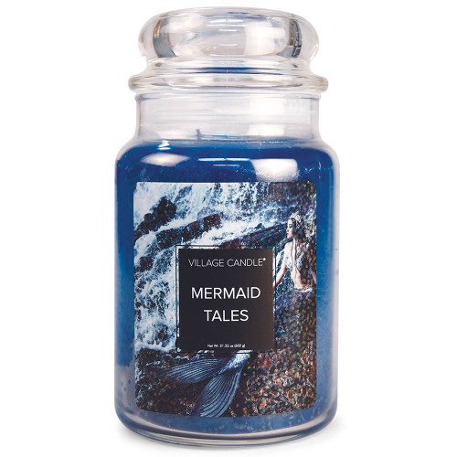 Mermaid Tales Large Glass Dome Jar Candle by Village Candle