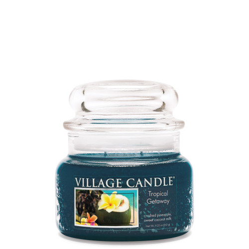 Tropical Getaway Small Glass Dome Jar Candle by Village Candle