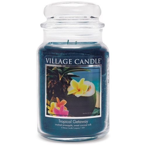 Tropical Getaway Large Glass Dome Jar Candle by Village Candle