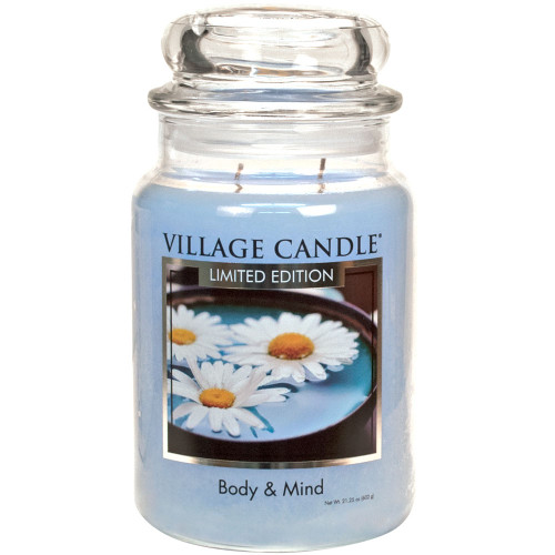 Body & Mind Large Glass Dome Jar Candle by Village Candle