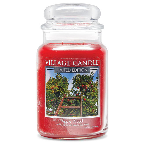 Apple Wood Large Glass Dome Jar Candle by Village Candle