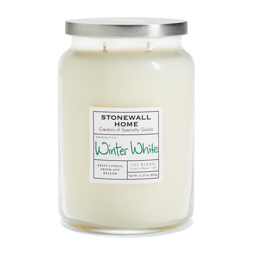 Winter White Large Apothecary Jar Candle by Stonewall Home