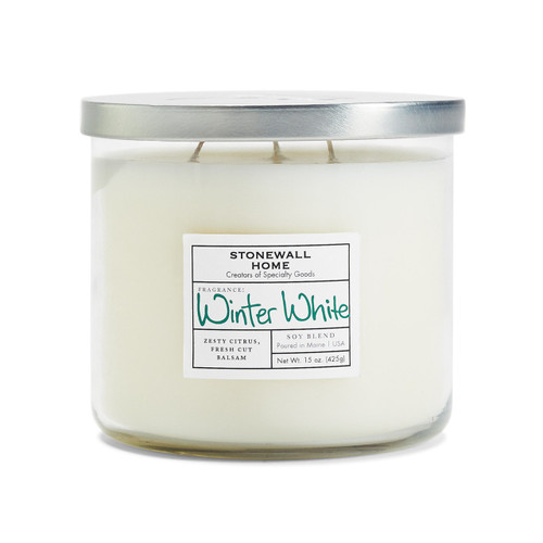 Winter White Medium Bowl Jar Candle by Stonewall Home