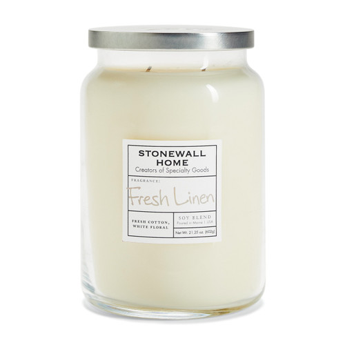 Fresh Linen Large Apothecary Jar Candle by Stonewall Home
