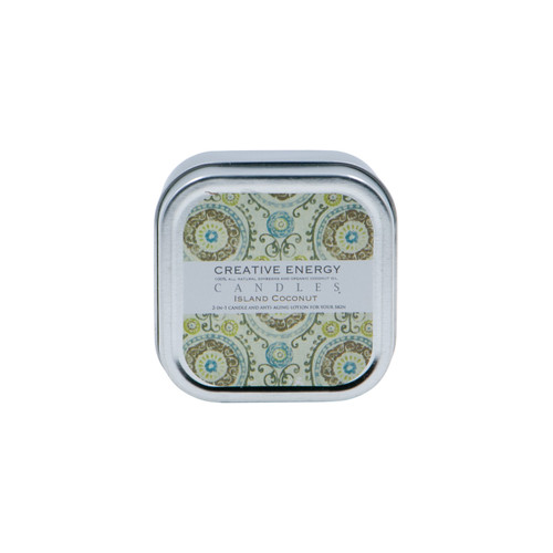 Island Coconut 2-in-1 3.5 oz. Tin Lotion Candle by Creative Energy