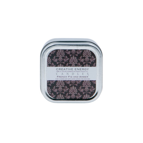 French Fig and Amber 2-in-1 3.5 oz. Tin Lotion Candle by Creative Energy