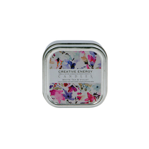 White Tea and Violet 2-in-1 3.5 oz. Tin Lotion Candle  by Creative Energy