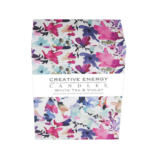 White Tea and Violet 2-in-1 7 oz. Glass Lotion Candle by Creative Energy