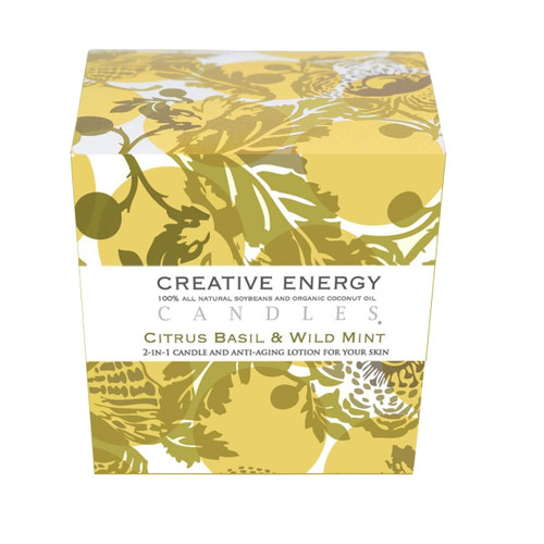Citrus Basil and Wild Mint 2-in-1 7 oz. Glass Lotion Candle by Creative Energy